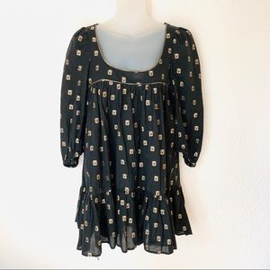 French Connection Owl Print Tunic Peasant Top Sz 4